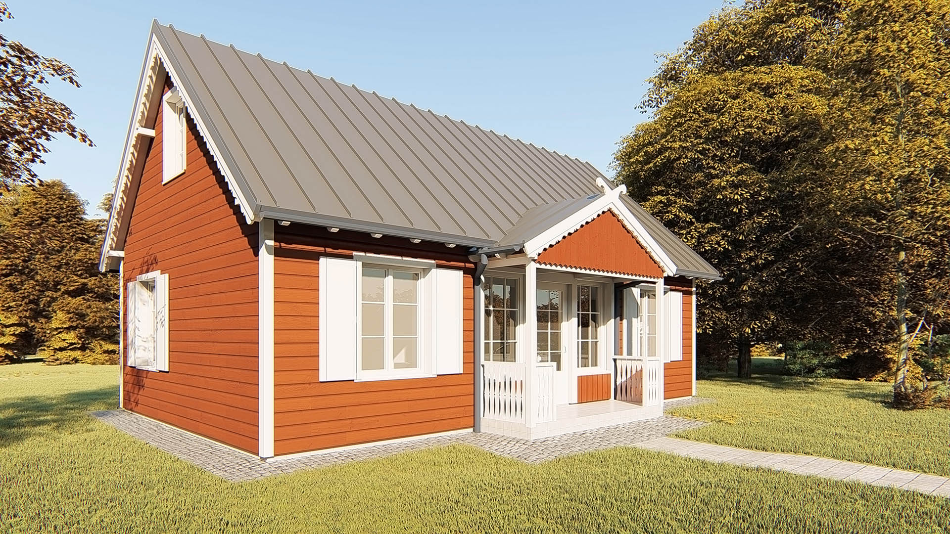tradicinio kaimo stiliaus poilsio namelio iki 80 m2 bendrojo ploto projektas