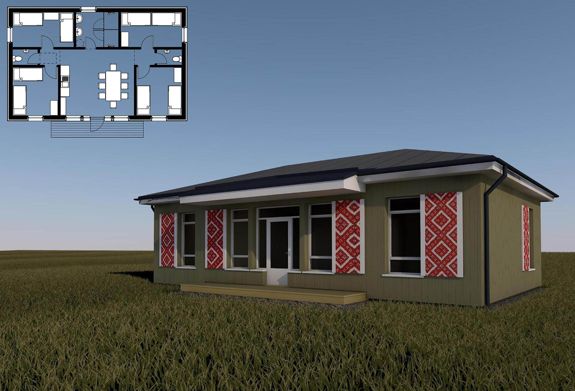 poilsio namelio iki 80 m2 bendrojo ploto su tautiniais raštais puoštomis langinėmis projektas