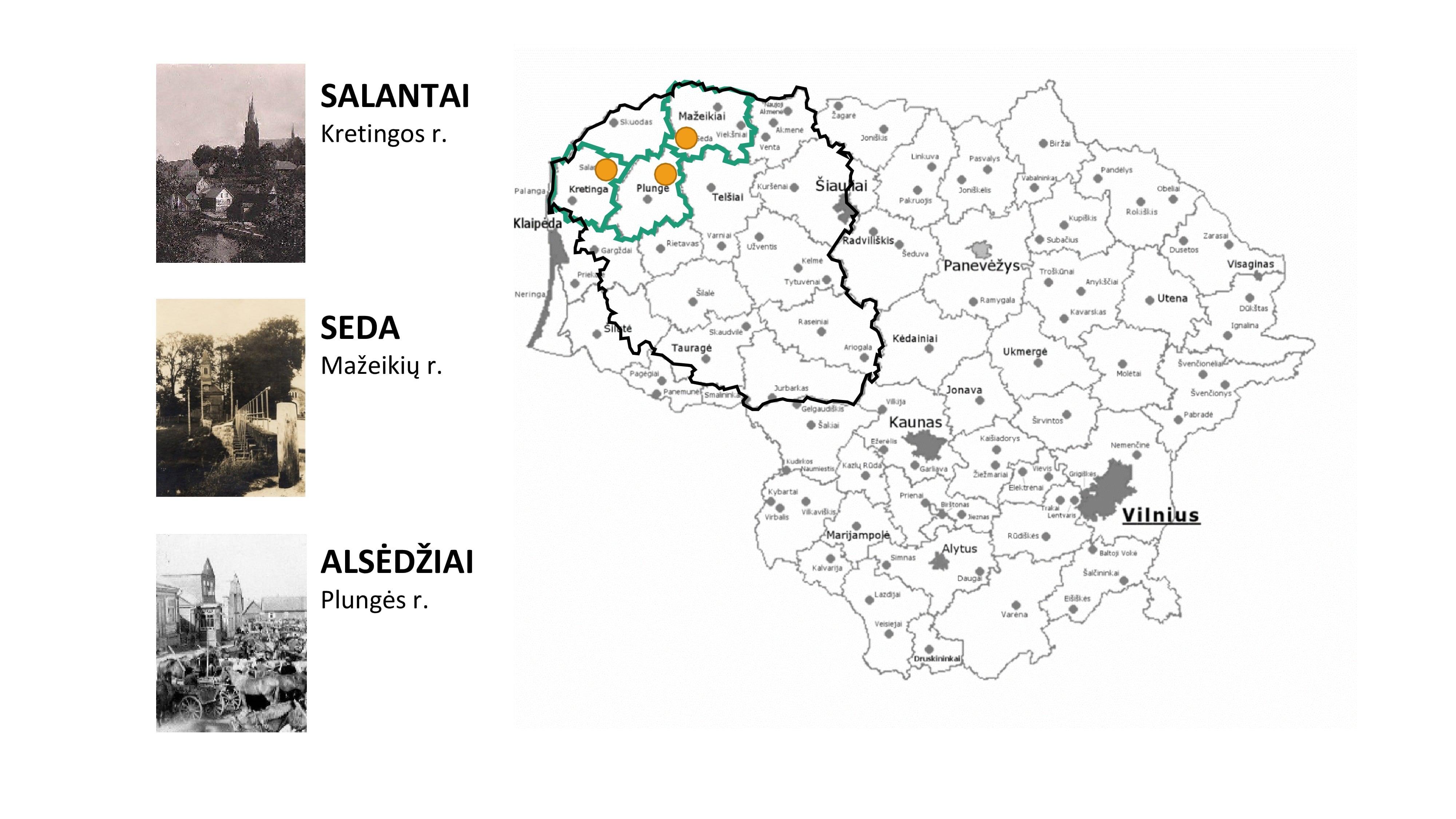 Tirtų vietovių žemėlapis: Salantai, Seda, Alsėdžiai